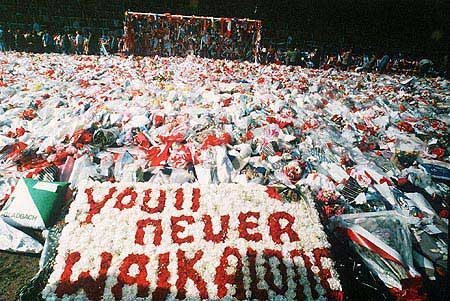 You'll never walk alone - flowers at the Kop goal