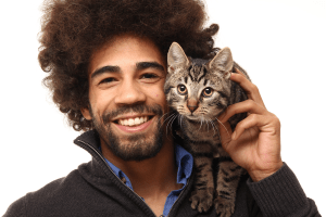 Cat with man