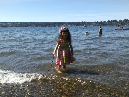 Polina standing in Lake Washington.