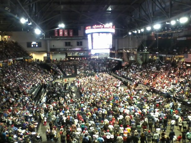 photo of Donald Trump on stage in XFINITY Arena in Everett, WA