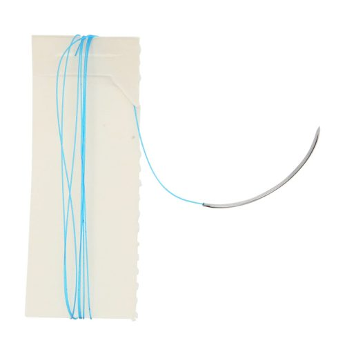 12-pack of 3-0 reverse cutting nylon sutures with 30mm 3/8 curved circle reverse cutting needle. Needle comes pre-attached with a 30in (75cm) long NYLON MONOFILAMENT BLUE thread.