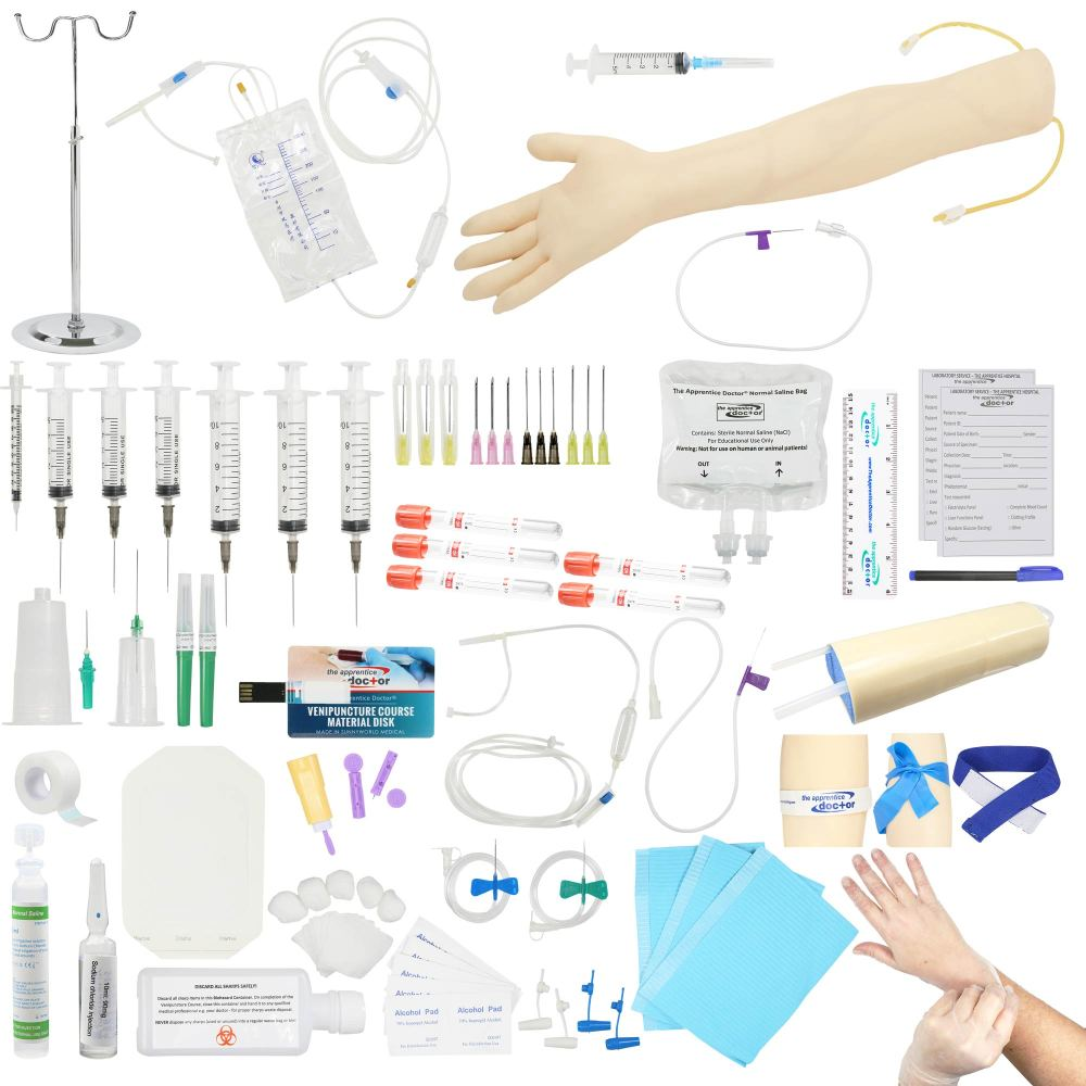 venipuncture kit plus iv arm for practicing phlebotomy - light skin - from the apprentice doctor