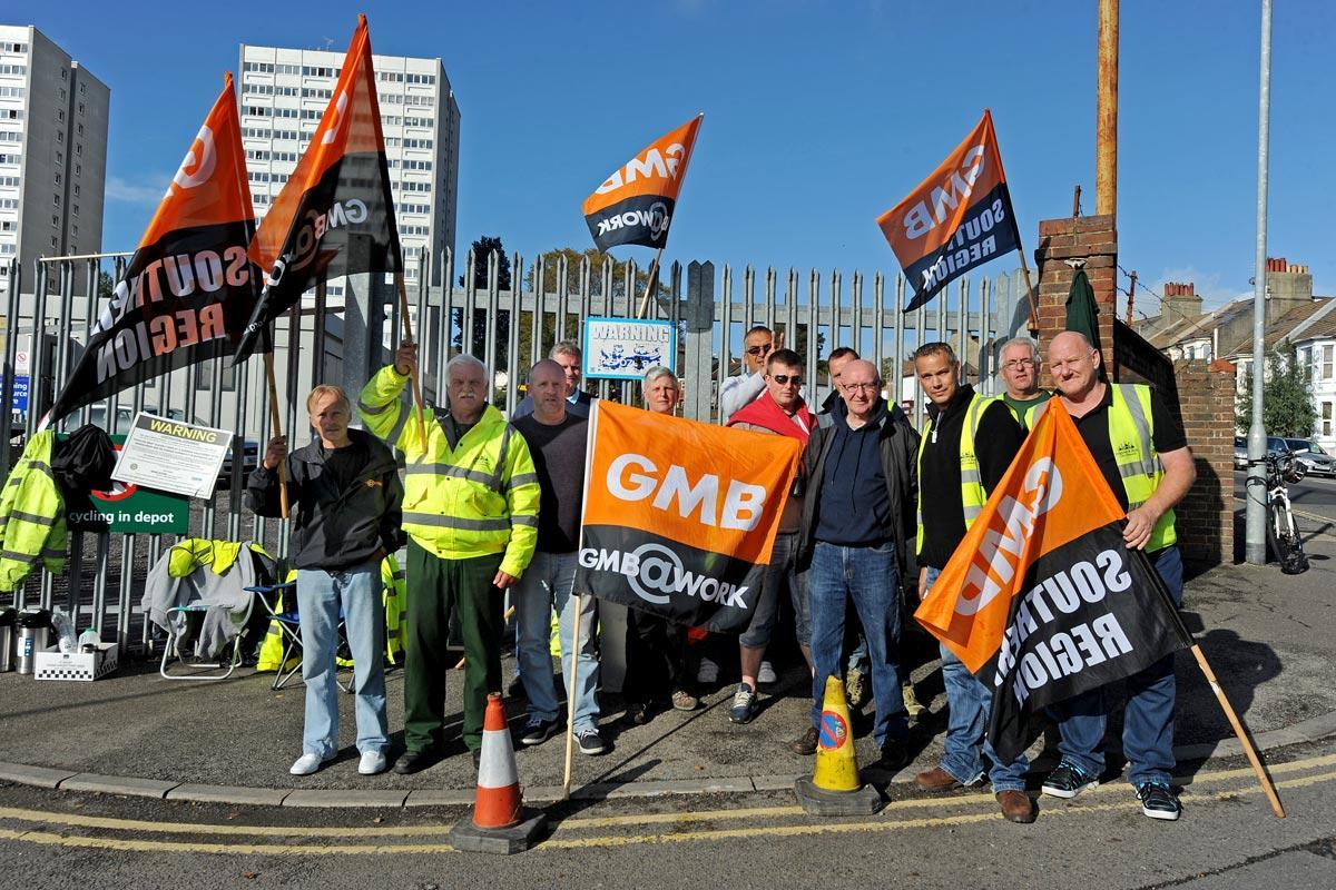 Members of the GMB on strike last year.