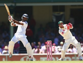 Dimuth Karunaratne plays an attacking stroke