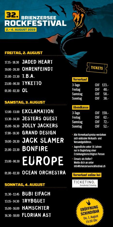 Grossartige Bands am 32. Brienzersee Rockfestival