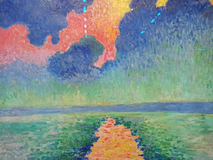 אנדרה דרן 1880-1954.שימוש רב עם צבעים חמים , שימוש ברקע הלבן להבהרת אזורים, אשליה של נקודות אור.