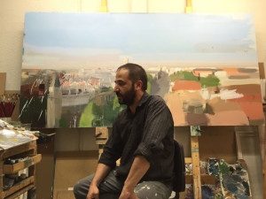 Miguel Coronado in his studio