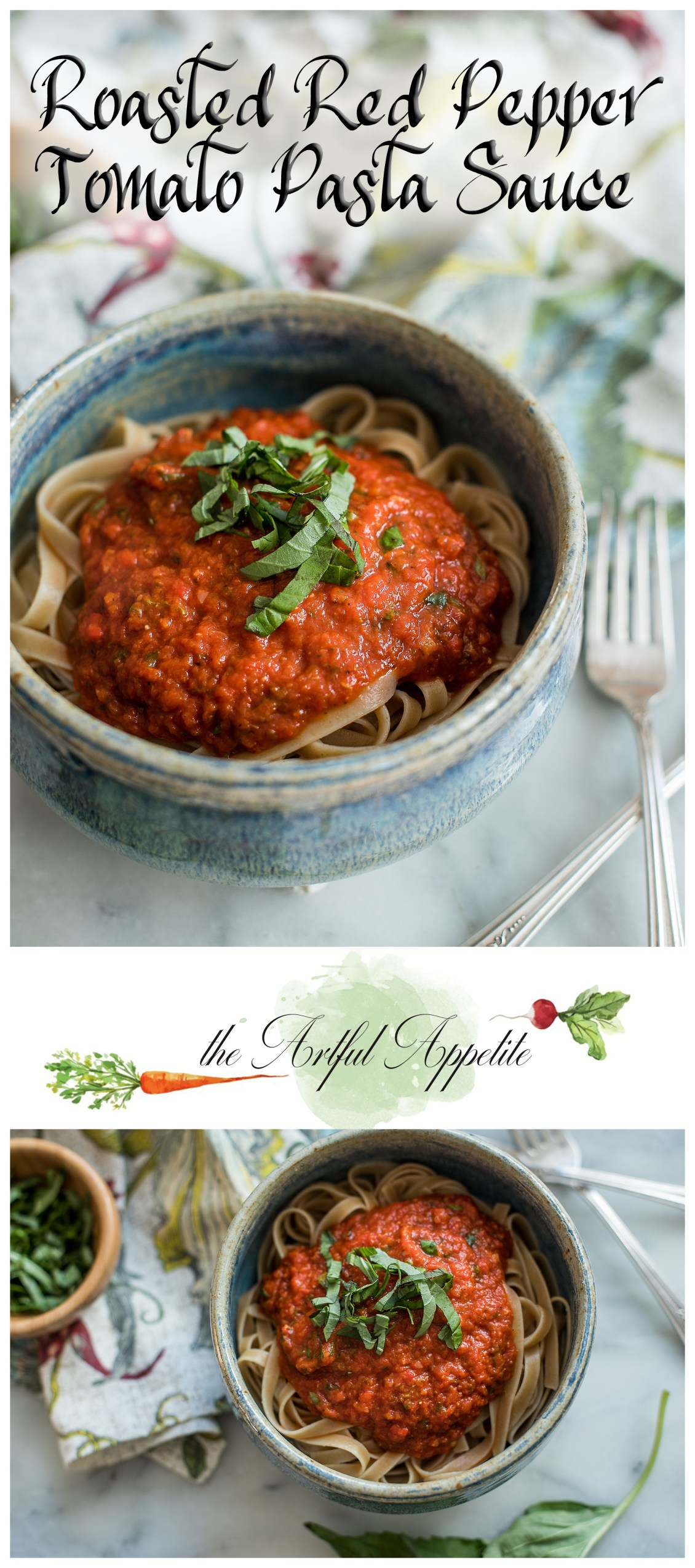 This roasted red pepper tomato sauce is a hearty vegan pasta sauce. Perfect for any day of the week!