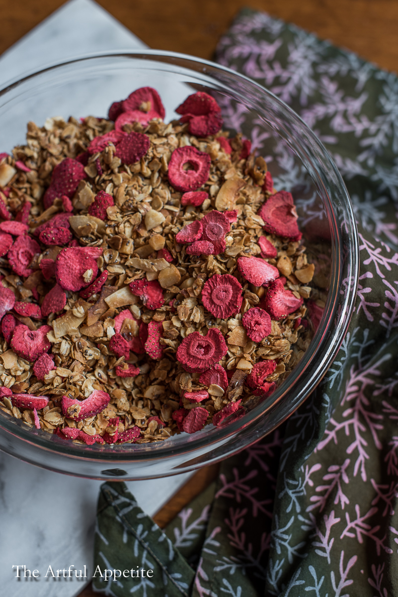 Strawberry Macadamia Coconut Granola Vegan