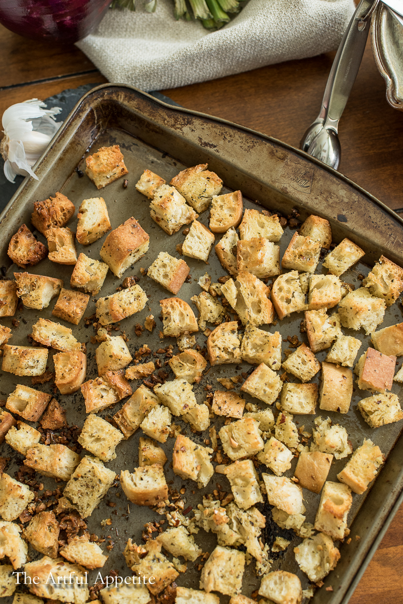 Easy Homemade Vegan Garlic Herb Croutons | The Artful Appetite