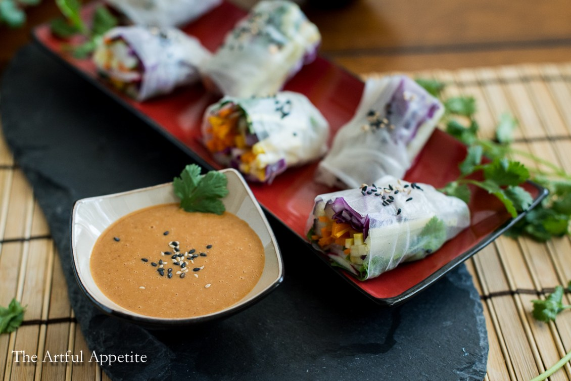 Summer Veggie Spring Rolls with Spicy Peanut Sauce vegan | The Artful Appetite