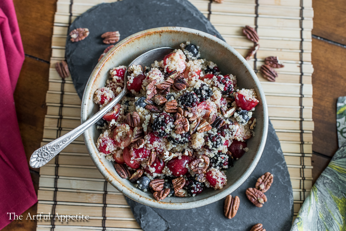 quinoa berry cherry salad vegan and gluten free | A recipe from The Artful Appetite