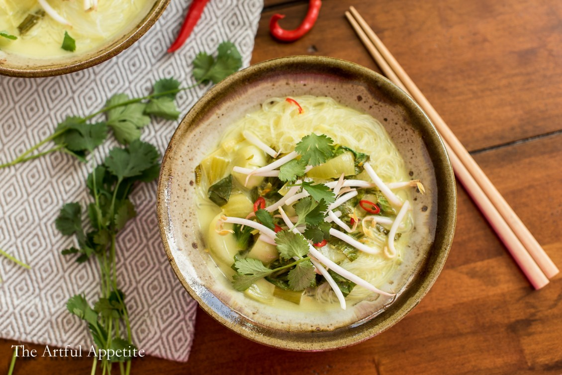 Coconut Bok Choy Soup with Vermicelli Vegan soup from Awesome Vegan Soups by Vanessa Croessmann The Artful Appetite
