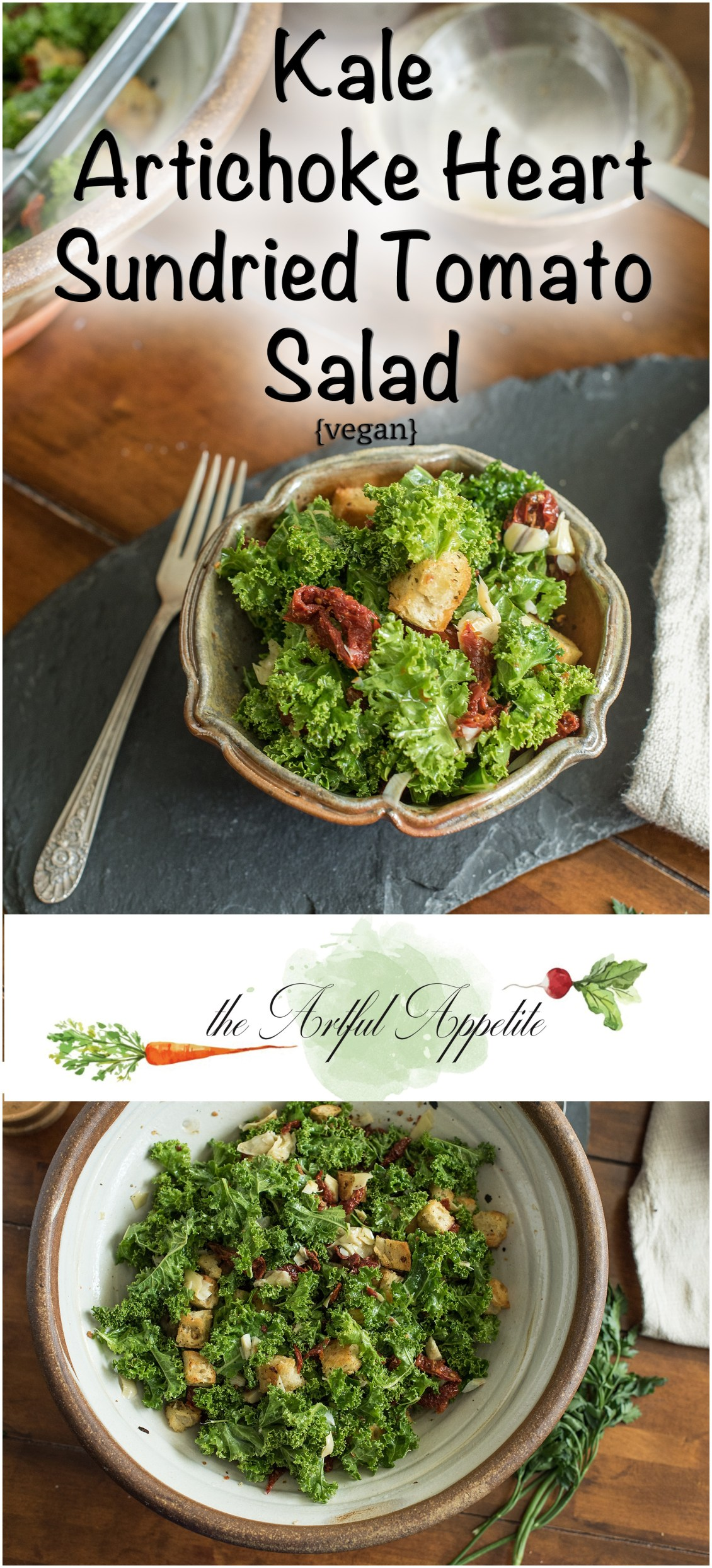 Kale Artichoke Heart Sundried Tomato Salad with croutons vegan