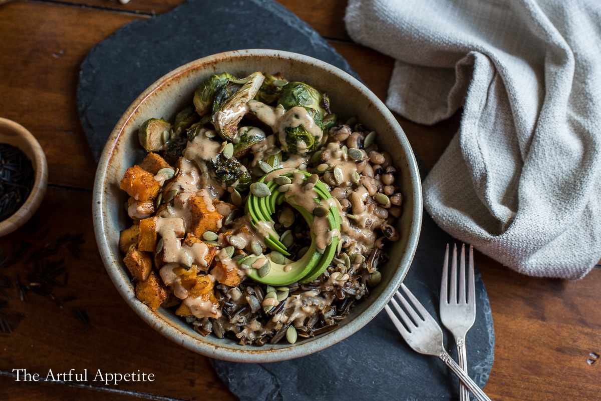 Sweet Potato Brussels Sprouts Wild Rice Bowl Vegan