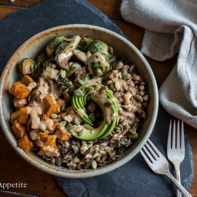 Sweet Potato Brussels Sprouts Wild Rice Bowl {vegan}