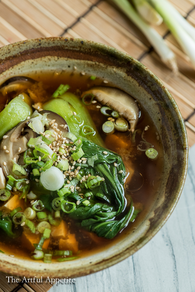Miso Soup with Shiitake Mushrooms and Baby Bokchoy is perfectly healthy, delicious, and a cinch to throw together!