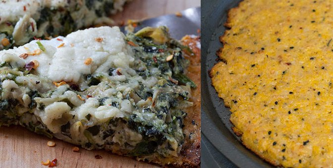 Spinach Artichoke Ricotta Pizza with Parmesan Garlic Cauliflower Crust