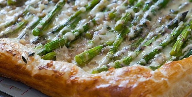 Baby Asparagus, Garlic & Three-Cheese Tart