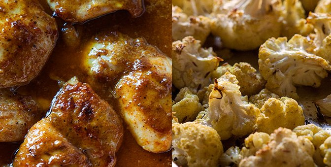 Buttery Maple-Mustard Chicken Thighs w/ Roasted Curry Cauliflower