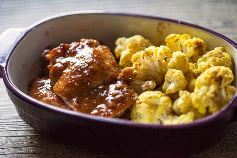 Maple Mustard Chicken w/ Roasted Curried Cauliflower
