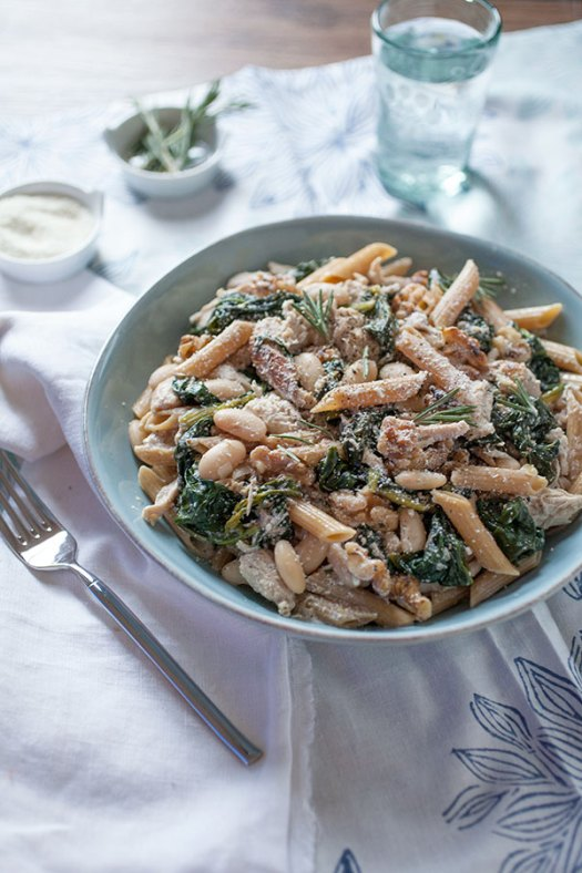 Lemony Rosemary Chicken Pasta with Greens and Beans