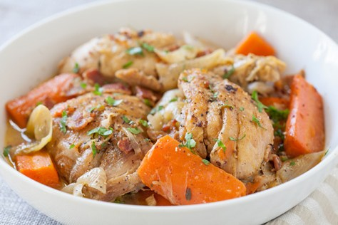 Wine-Braised Chicken with Bacon, Veggies and Herbs