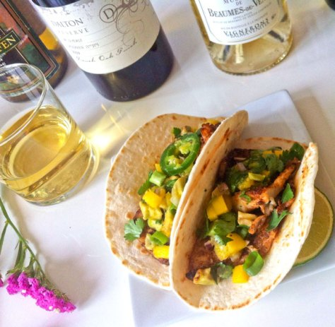 spicy fish tacos and wine