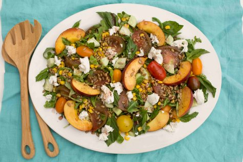 Heirloom Tomato, Peach & Mozzarella Salad