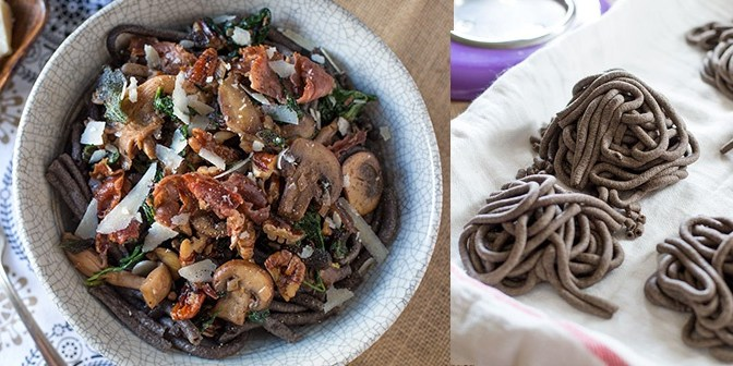 Celebrating Fall Flavors: Buckwheat Bucatini w/ Truffled Wild Mushroom Sauce