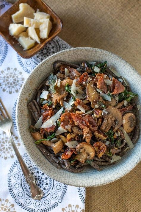Buckwheat Bucatini with Truffled Wild Mushroom Sauce