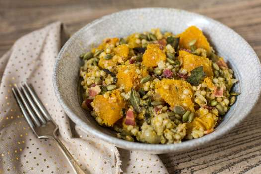 Maca Pumpkin Couscous w/ Shallots and Bacon and Crispy Sage