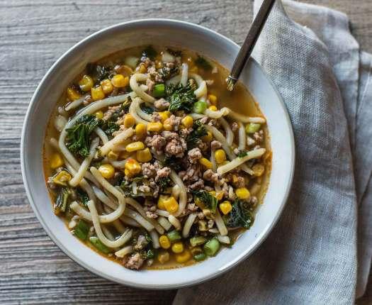 Spicy Pork + Kale Udon Noodle Soup