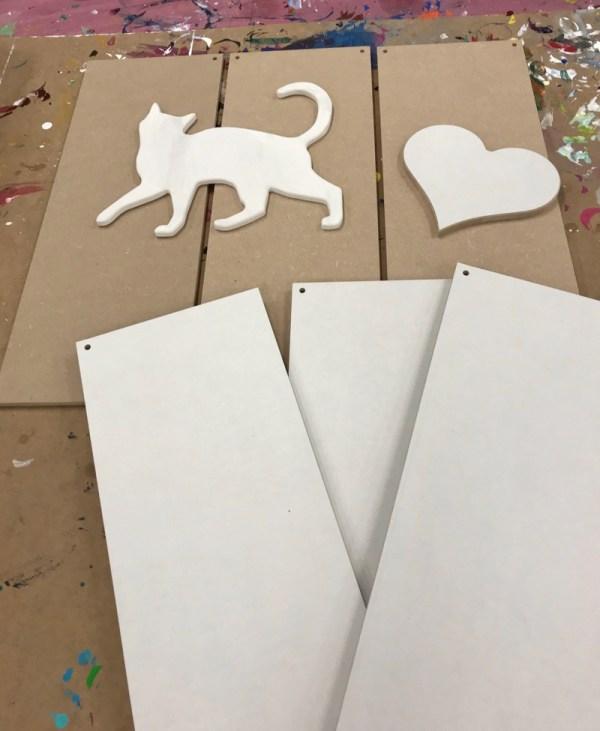 Creatief hobby materiaal hout Kat hart en borden
