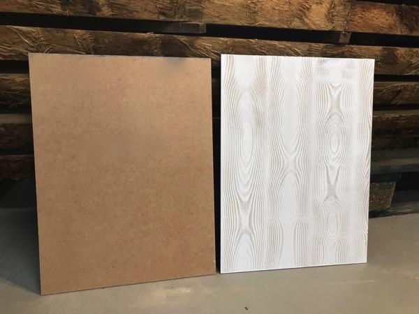 Achterwand houtnerf voor en na