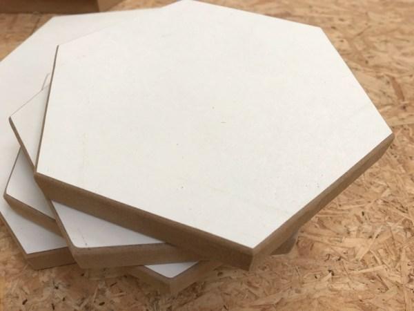 Hexagon hout op stapel