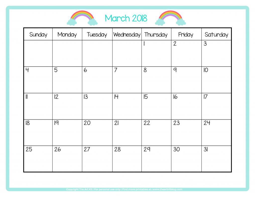 Free Printable Calendar Kids March