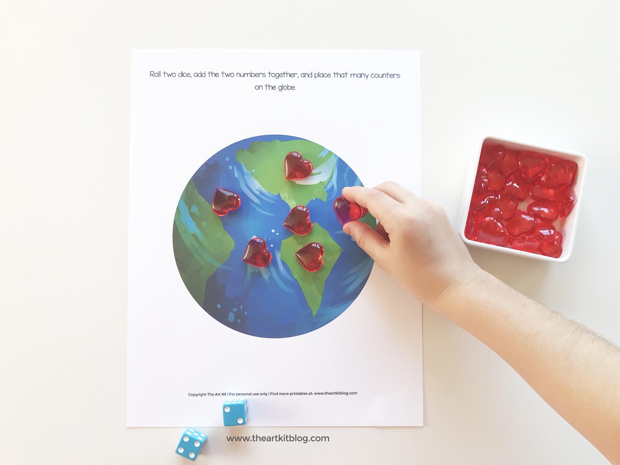 Dice Math Worksheet Earth Day
