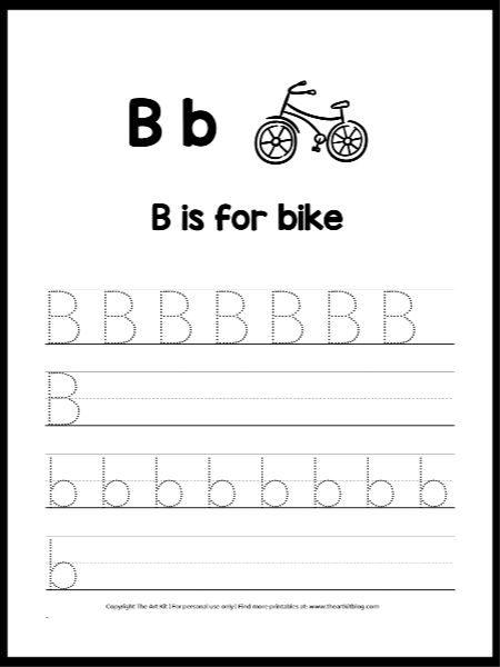 Letter B Is For Bike Worksheet Free Instant Download The Art Kit