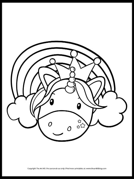 Princess Unicorn Coloring Page Free Printable Download The Art Kit