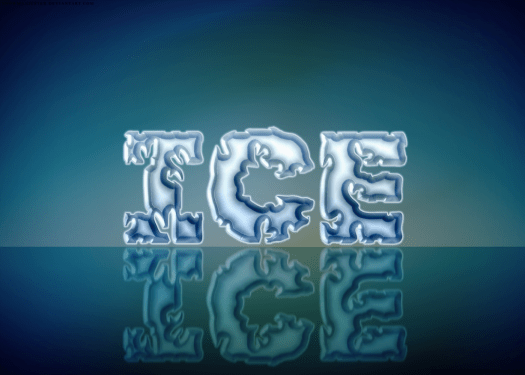 """word """"ice"""" that looks like it's made of ice"""