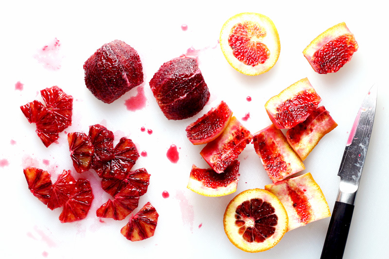blood oranges cutting board