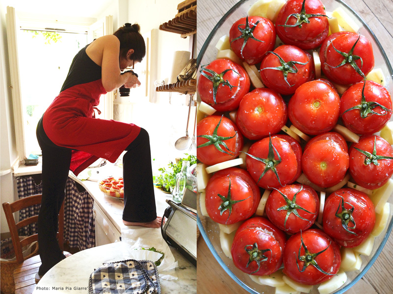 Deborah Dal Fovo does what it takes to get snap an overhead photo of her beautiful rice stuffed tomatoes before they go into the oven.