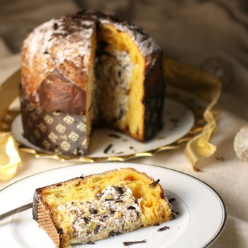 Panettone filled with cream, chocolate and nuts