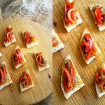 Peperonata Crostini – Colorful, sweet and tangy Peperonata makes a vibrant and tasty topping for toasted bread as an irresistible appetizer.