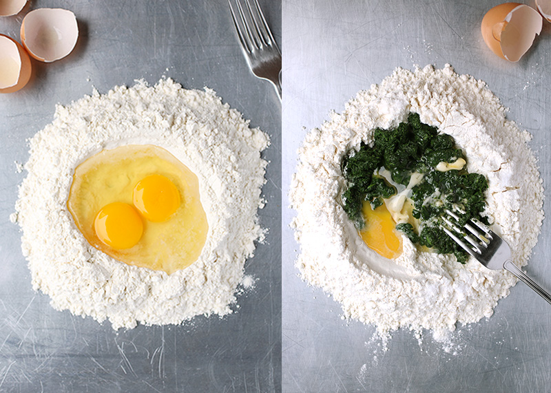 Plain egg pasta and spinach pasta doughs are both easy to make with few ingredients. Just flour eggs and spinach!