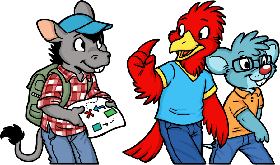 Bird and mouse showing a donkey around furry convention