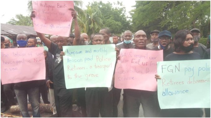 Retired Police officers stage peaceful protest over pensions