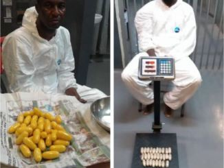 Two Drug Traffickers Excrete 191 Pellets Of Cocaine And Heroin At Lagos Airport (Photo)