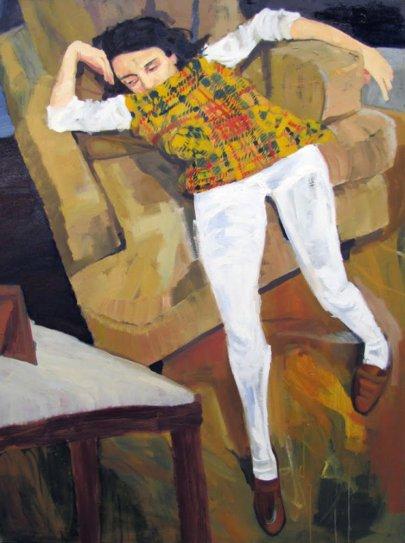 art-teacher-new-york-audrey-gair-painting Woman slouching in chair